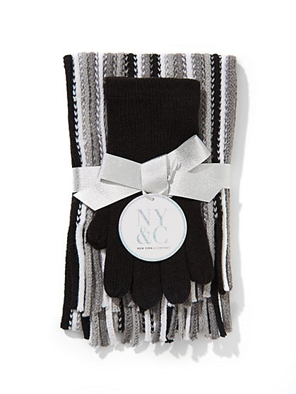 Striped Scarf & Solid Glove Gift Set  - New York & Company