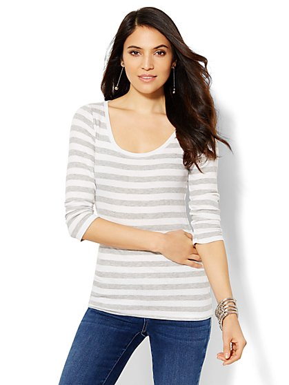 Striped Scoopneck Long-Sleeve Tee  - New York & Company