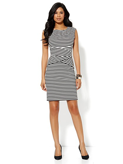 Striped Scoopneck Sheath