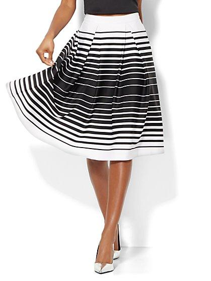 Striped Scuba Full Skirt  - New York & Company