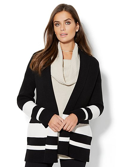 Striped Shawl-Collar Cardigan - New York & Company