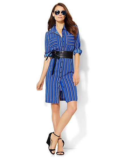 Striped Shirtdress - Grand Sapphire - New York & Company