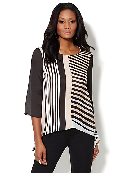 Striped Trapeze Blouse  - New York & Company
