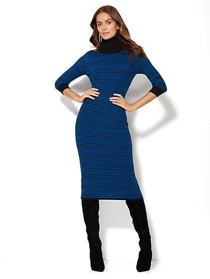 Striped Turtleneck Midi Sweater Dress  - New York & Company