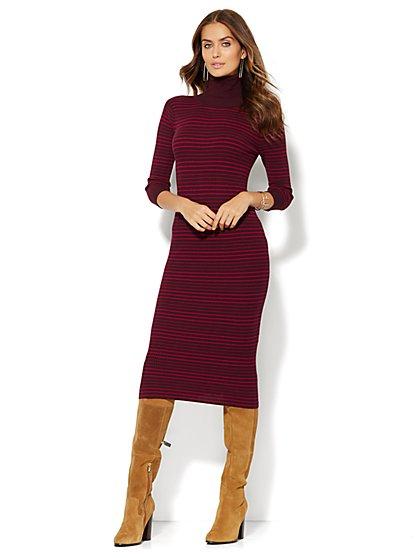 Striped Turtleneck Midi Sweater Dress  - New York & Company
