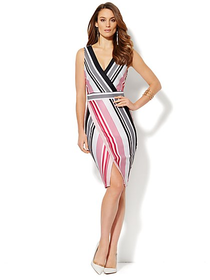 Striped Wrap Scuba Dress - New York & Company