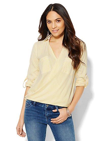 Striped Wrap Shirt - Petite  - New York & Company