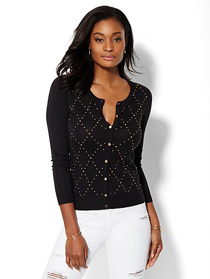 Studded Argyle Cardigan  - New York & Company