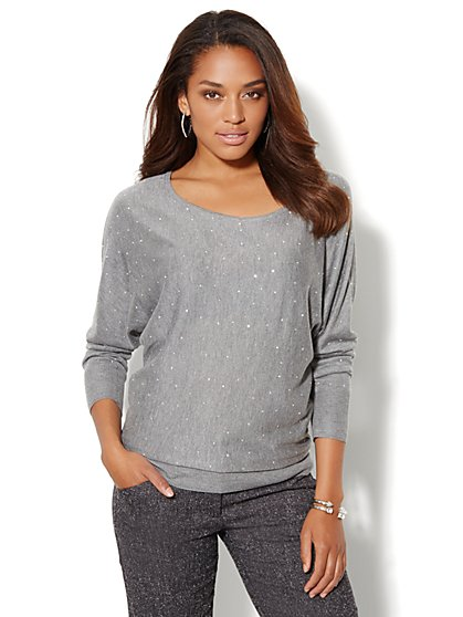 Studded Bateau Dolman-Sleeve Sweater  - New York & Company