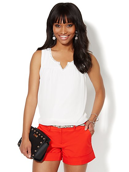 Studded Chiffon Sleeveless Top  - New York & Company