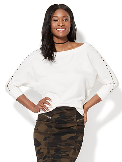 Studded Dolman Sweatshirt - New York & Company