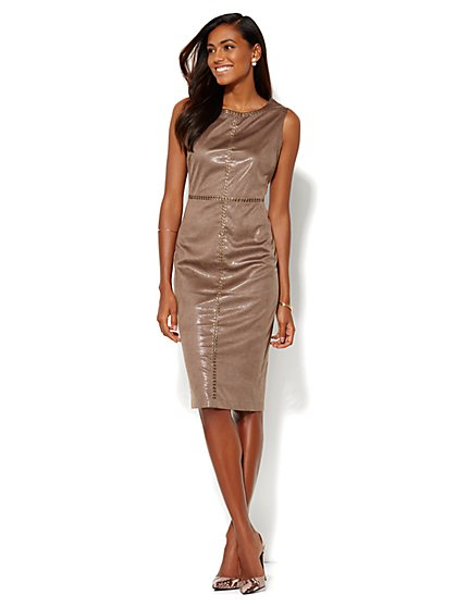 Studded Faux-Suede Sheath Dress  - New York & Company