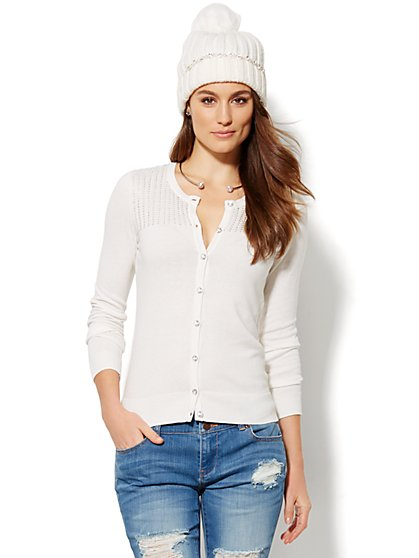 Studded Ribbed Cardigan  - New York & Company