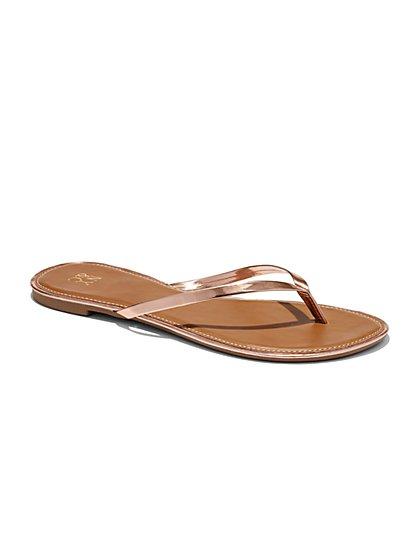 Sunshine Sandal - Patent Trim Flip-Flop - New York & Company