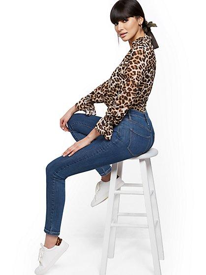 Super High-Waisted Abby No Gap Super-Skinny Ankle Jeans - Medium Blue - New York & Company