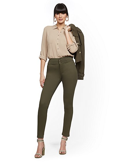 Super High-Waisted Corset Super-Skinny Jeans - Olive - New York & Company