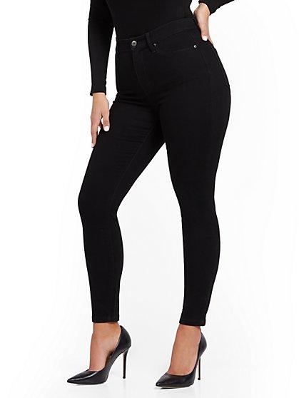 Super High-Waisted No-Gap Super-Skinny Jeans - Black - New York & Company