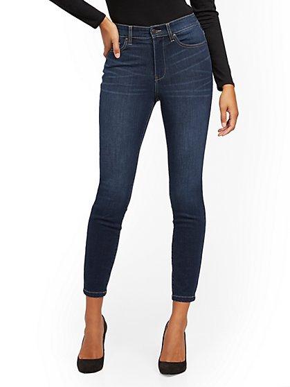 Super High-Waisted No-Gap Super-Skinny Jeans - Dark Blue - New York & Company