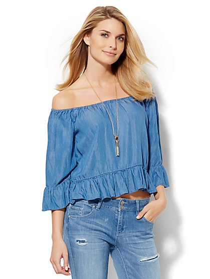 Super-Soft Chambray Off-The-Shoulder Blouse  - New York & Company