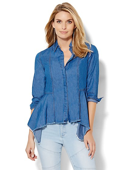 Super-Soft Chambray Peplum Shirt  - New York & Company
