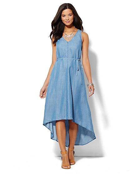 Super-Soft Chambray Racerback Dress  - New York & Company