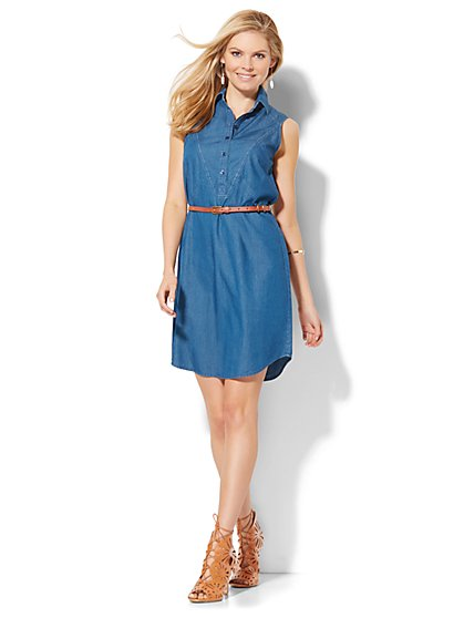 Super-Soft Chambray Shirtdress - Blue Estate Wash  - New York & Company