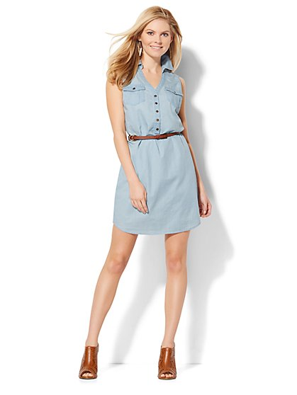 Super-Soft Chambray Shirtdress - Light Blue  - New York & Company
