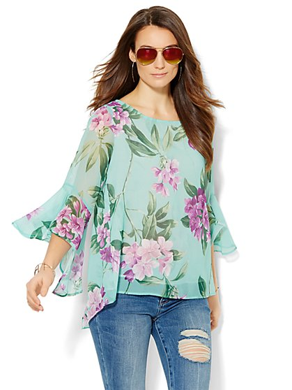 Sweet Pea - Bell-Sleeve Hi-Lo Blouse  - New York & Company