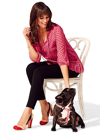 Sweet Pea - Brigitte Peplum Blouse - Polka Dot  - New York & Company