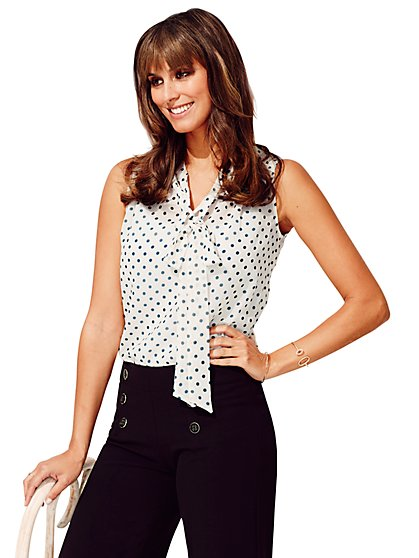 Sweet Pea - Gigi Bow Blouse - Polka Dot  - New York & Company