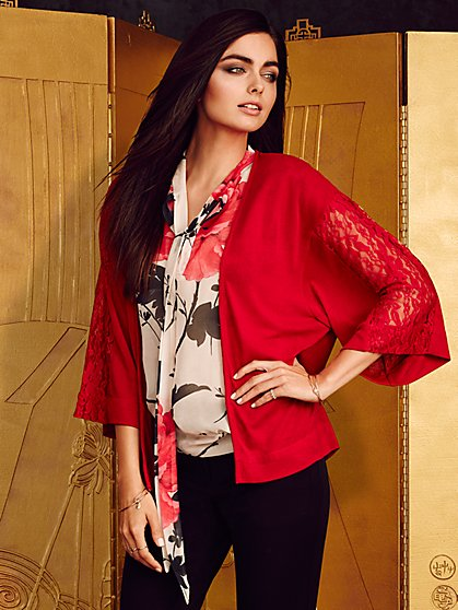 Sweet Pea - Kylie Lace-Inset Kimono Cardigan - New York & Company