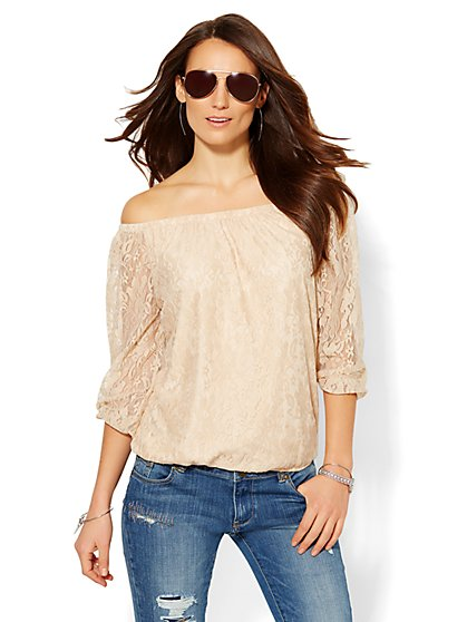 Sweet Pea - Miranda Lace Peasant Blouse  - New York & Company