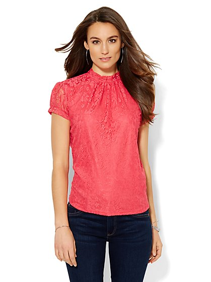 Sweet Pea - Shirred Lace Overlay Blouse  - New York & Company