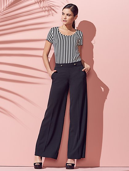 Tab-Front Wide-Leg Pant - New York & Company
