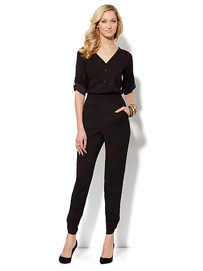 Tab-Sleeve Jumpsuit