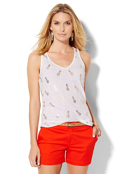 Tank Top - Metallic Pineapple Print  - New York & Company
