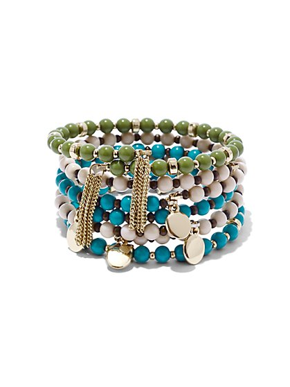 Tassel-Accent Beaded Coil Cuff Bracelet  - New York & Company