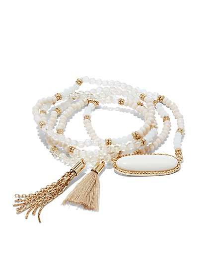 Tassel-Accent & Cabochon Beaded Bracelet  - New York & Company