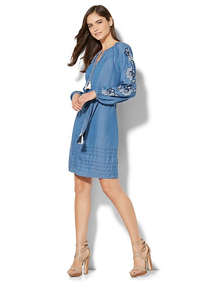 Tassel-Accent Embroidered Peasant Dress - Chambray - New York & Company