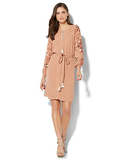 Tassel-Accent Embroidered Peasant Dress - New York & Company