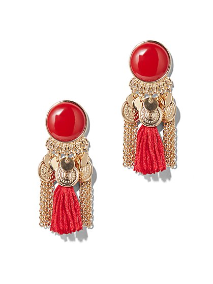 Tassel-Accent Goldtone Drop Earring  - New York & Company