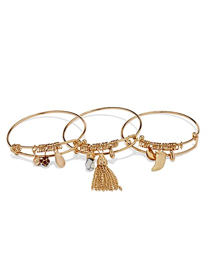 Tassel & Charm Bangle Set    - New York & Company