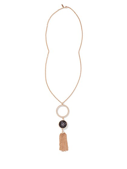 Tassel & Double-Pendant Necklace - New York & Company