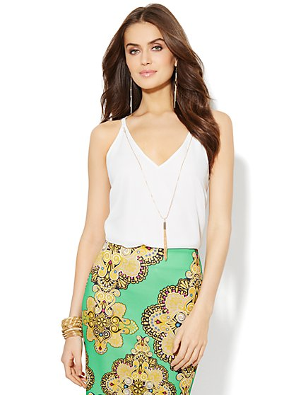Tassel Necklace Sleeveless Top - New York & Company