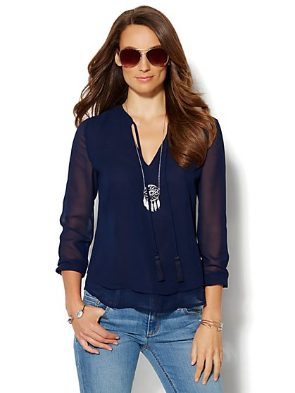 Tassel Peasant Blouse - New York & Company