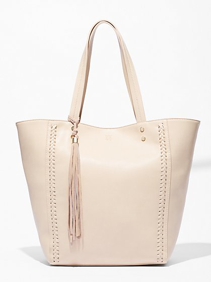 Tassel-Trim Braided Tote Bag  - New York & Company