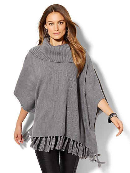 Tassel-Trim Cowl-Neck Poncho  - New York & Company