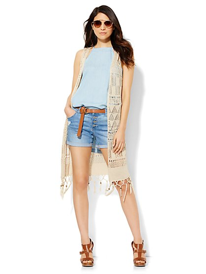 Tassel-Trim Crochet Vest  - New York & Company