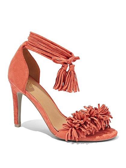 Tassel-Trim Pompom Sandal  - New York & Company