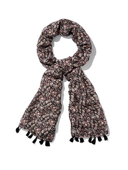 Tassel-Trim Scarf - Floral  - New York & Company